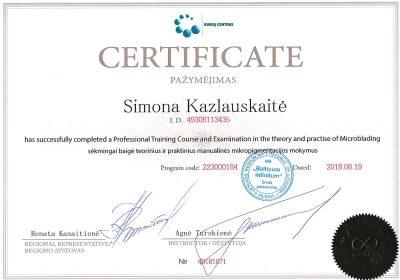 manualines antakiu korekcijos microblading sertifikatas Simona Kazlauskaite